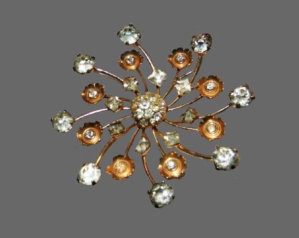 Snowflake brooch. Sterling silver, gold plated, rhinestones