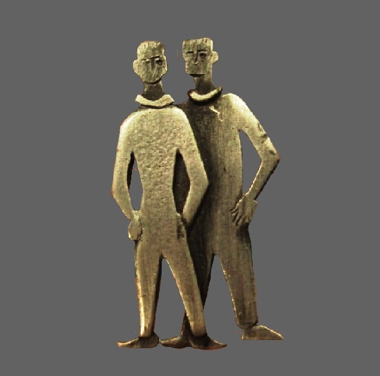 Standing men couple, pewter