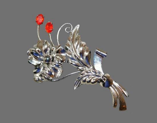 Sterling silver flower brooch. 925 silver, enamel, rhinestones