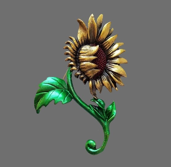 Sunflower life brooch. Pewter, enamel. 6.4 cm, 1980s
