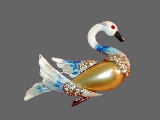 Swan brooch. Pearl body, rhinestones, enamel