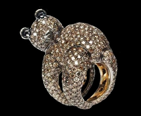 Teddy Bear, White & Brown Diamond, Gold, Cocktail Fashion Ring