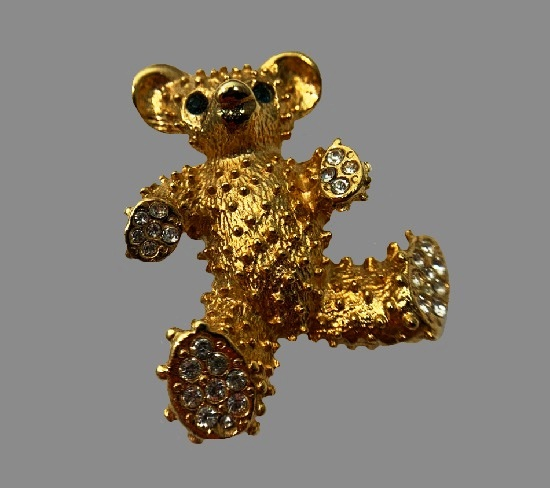 Teddy bear brooch. Gold tone, rhinestones, crystals
