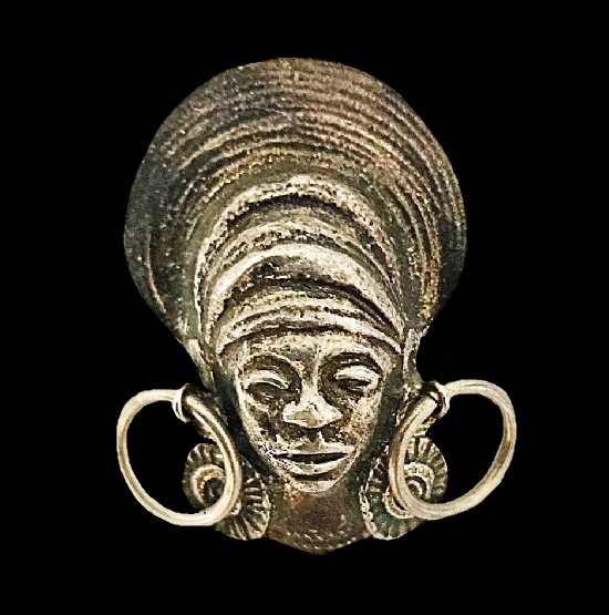 Tribal African woman brooch pendant of silver tone