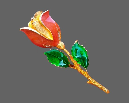 Tulip brooch. Gold tone, rhinestones, enamel. 6 cm