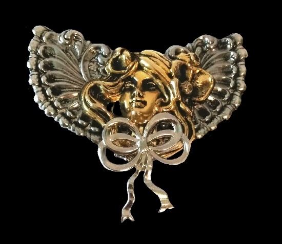 Victorian style Angel brooch. Gold and silver tone metal