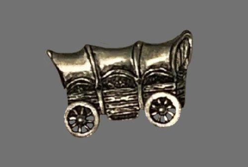 Wagon silver pewter brooch pin