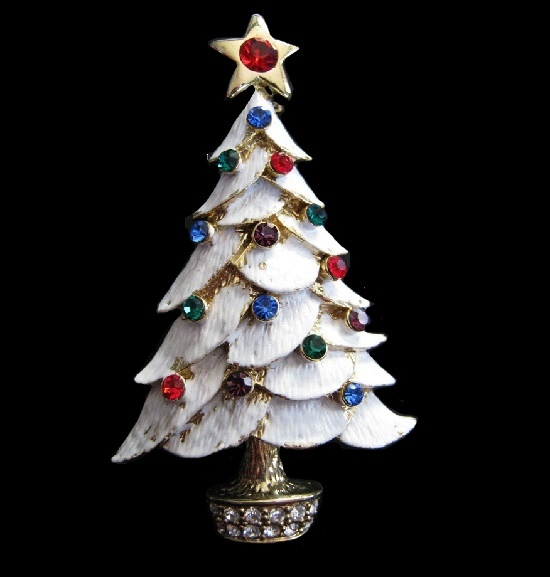 White Christmas tree brooch. Gold tone metal, enamel, blue, red and clear rhinestones