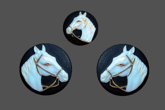 White Horse head Cufflinks and Tie Clip. Sterling silver, porcelain. 1950s