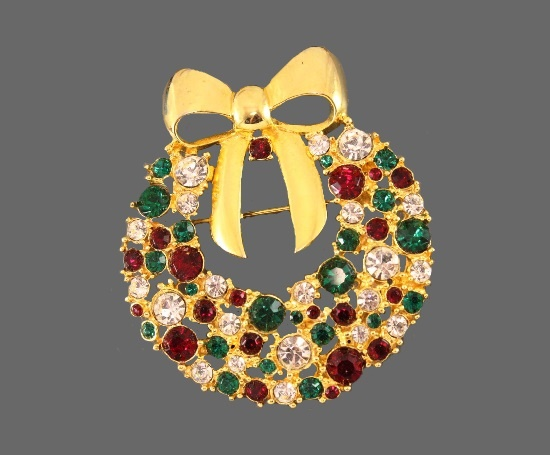 Wreath and gold bow vintage brooch. 6 cm. Rhinestones and crystals