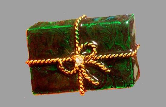 X-mas gift brooch. Jewelry alloy, enamel, rhinestones