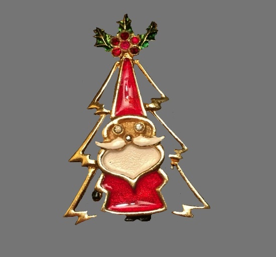 X-mas tree with Santa pin brooch. Gold tone metal alloy, enamel, rhinestones