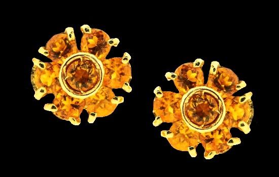 Yellow Citrine 18 K gold earrings, flower design