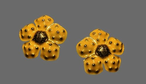 Yellow flower clip on earrings. Gold tone metal, enamel