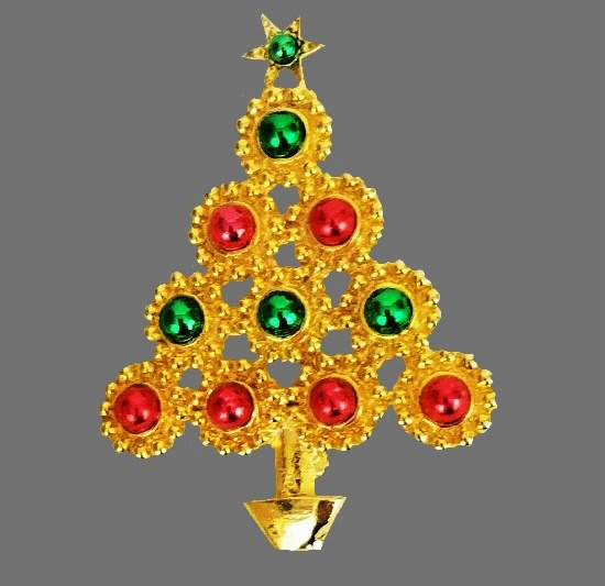 Yellow gold tone faux pearl Christmas tree brooch pin