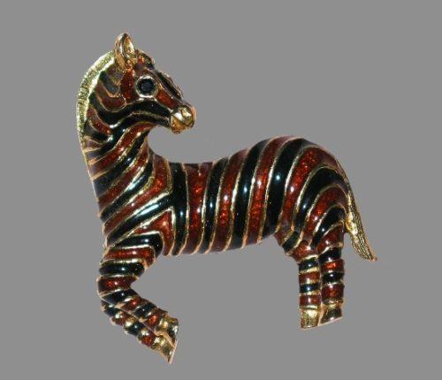 Zebra Pin. Gold plated, enamel. 1980s