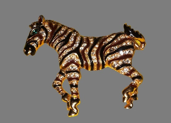 Zebra brooch pin. Gold plated, black enamel, rhinestones