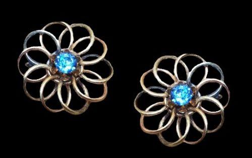 10 K gold filled flower shaped earrings with blue rhinestones