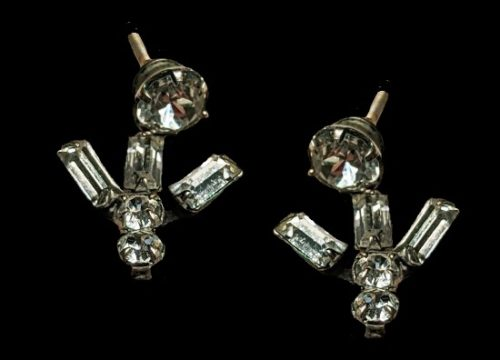12k White Gold Plated Earrings with rhinestones