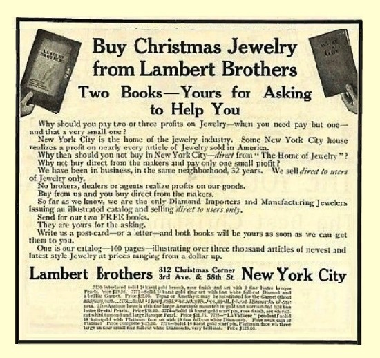 1908 Lambert Brothers NYC Jewelry Old Christmas Ad