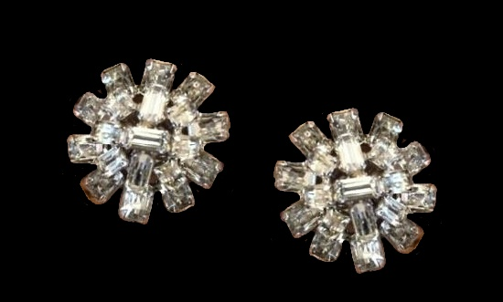 1950s Vintage clear rhinestones clip on earrings