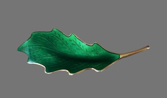 925 Silver green leaf brooch. 1950s, Norway
