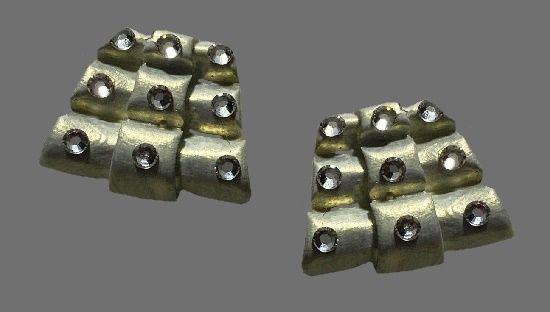 Abstract design massive clip on earrings. Gold tone metal alloy, white enamel, rhinestones