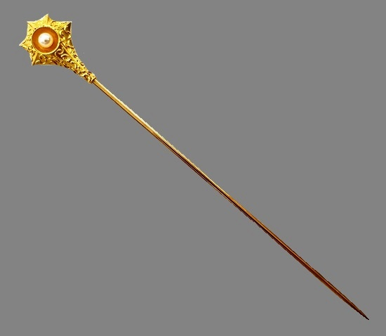 Antique 14K Gold and Seed Pearl Embossed Starburst Stickpin