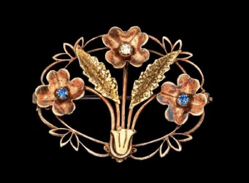 Art Nouveau 10k Gold faux Sapphire & Diamond Pin Brooch