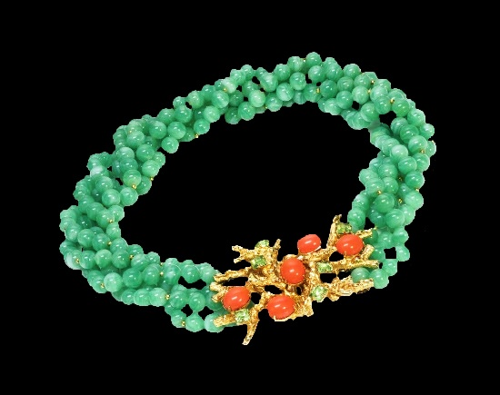 Bead necklace. 1960's design by Robert F. Clark for William de Lillo. Gold tone, coral and green glass