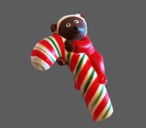 Bear Cub with Candy Cane brooch. Signed S. Lehman. Enameled Resin. 1960s
