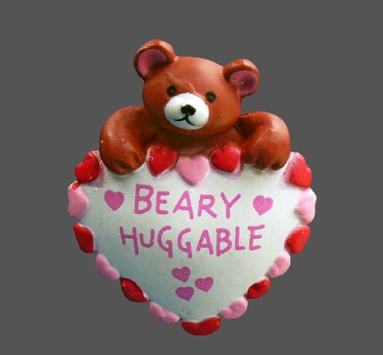Beary huggable vintage pin