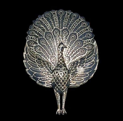 Beautiful peacock brooch. Sterling silver, black enamel