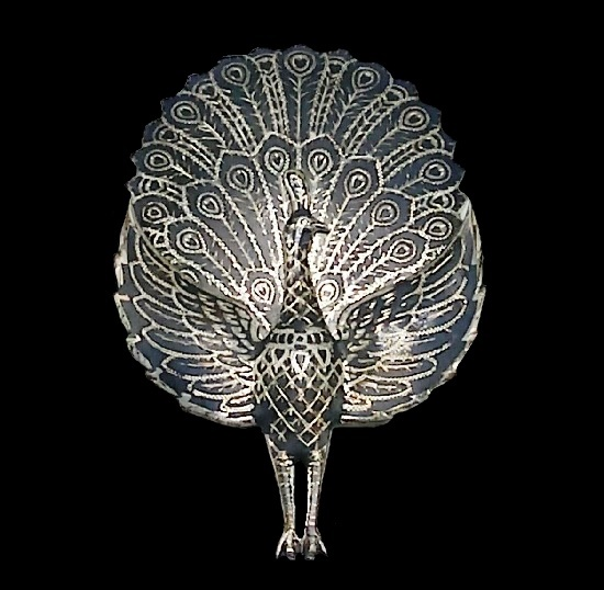 Beautiful peacock brooch. Sterling silver, black enamel