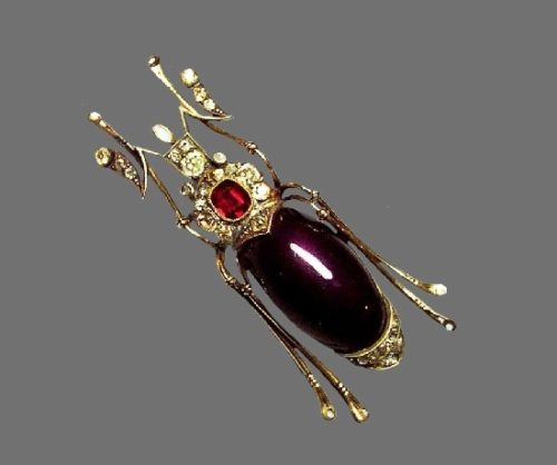 Beetle brooch. Gold, rubies, sapphires, diamonds, moonstone, pearls. A. Holstrem's workshop. Russia, St. Petersburg, before 1898. Length 8 cm