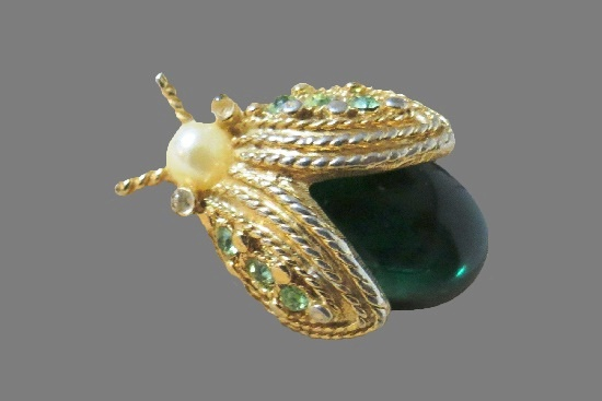 Beetle brooch. Lucite, faux pearl, gold tone. 1960s