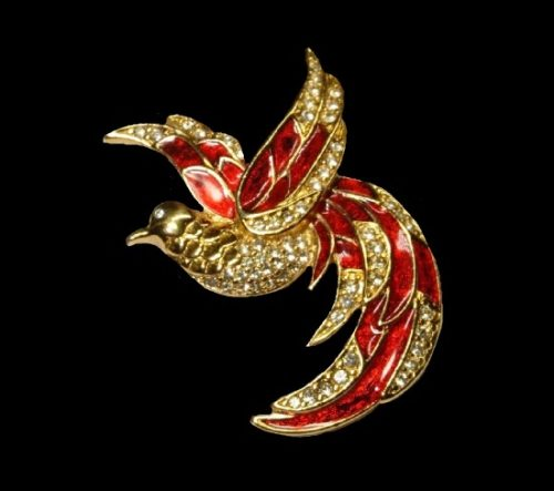 Bird of paradise brooch. Gold tone metal, rhinestones, red enamel. 5 cm. 1980s