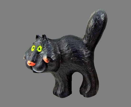 Black Cat Lehman design vintage pin