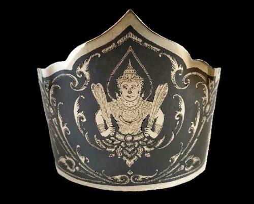 Black enamel Siamese man pattern cuff bangle. Sterling silver