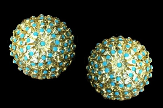 Blue Beads Dome shaped gold tone clip on earrings