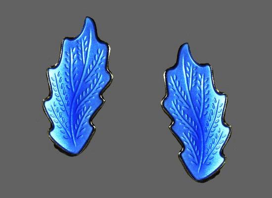 Blue leaf clip on earrings. Textured silver, enamel
