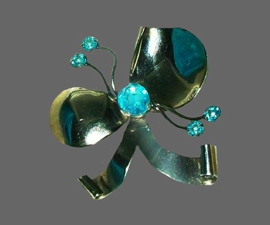 Blue rhinestone sterling silver floral bow brooch