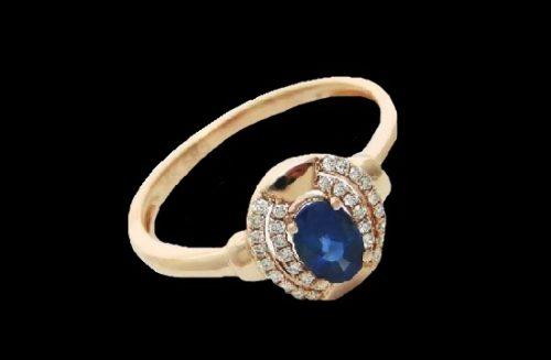 Blue sapphire 14k rose gold diamond ring