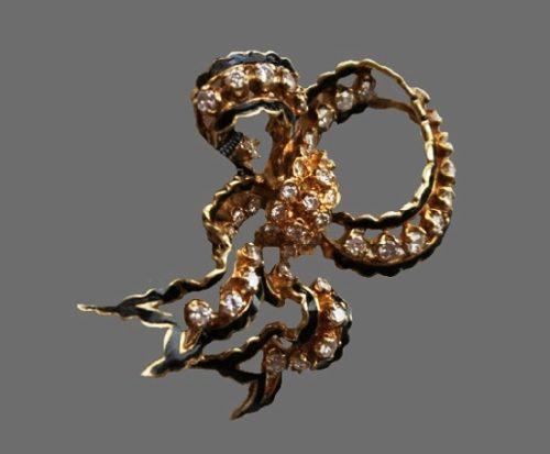 Bow brooch. 14 k gold filled, diamond, enamel. 1950s