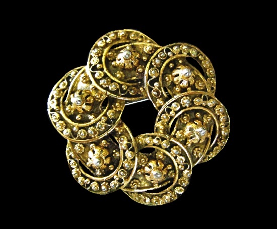 Bronze tone floral design rhodium plated brooch