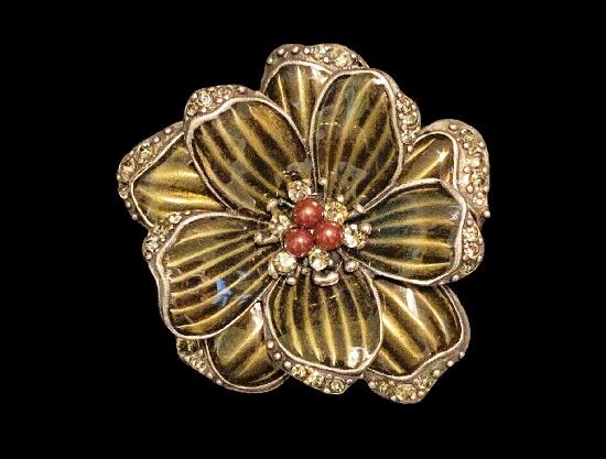 Brown flower brooch. Pewter tone, rhinestones, glass beads