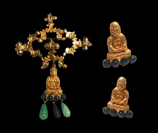Buddha pin and earclips. Sterling silver gold plated, faux pearl, jade, lapis. 1968