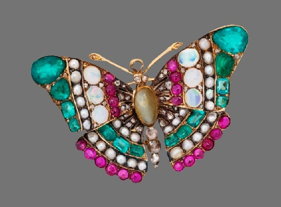 Butterfly brooch. Gold, opals, emeralds, diamonds