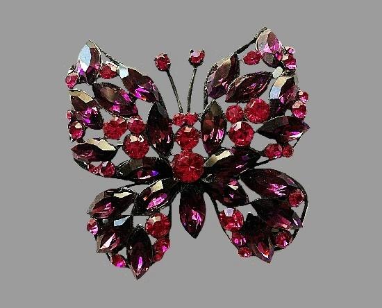Butterfly crystal brooch