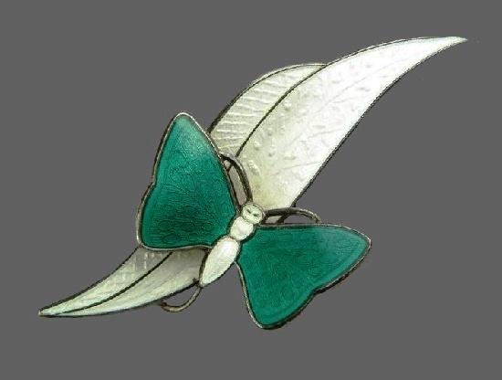 Butterfly on a leaf brooch. Sterling silver, white enamel